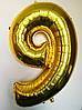 """Фольгированные шары цифры """"9"""" 40"""" (100 см) Золото"""