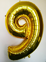 """Фольгированные шары цифры """"9"""" 90 см Золото"""