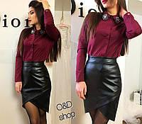 Кожаная юбка с ассиметричным низом q-271115