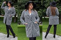 """Элегантное женское пальто демисезон в больших размерах 320-1 """"Овер Ёлочка"""""""