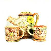Чайный набор чайник заварочный 800мл чашка 2*120мл подставка 3шт керамические ручной работы
