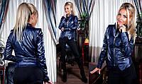 """Стильная женская куртка демисезон 5037 """"Кожа Комби Ромбик"""" в расцветках"""