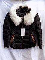 Женская куртка с мехом черная оптом 15081, фото 1