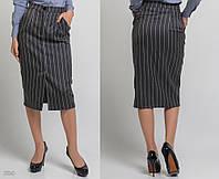 """Стильная женская юбка средней длины 5326 """"Креп Полоска Разрез Миди"""" в расцветках"""