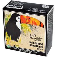 Light Mountain, Натуральное средство для окрашивания и ухода за волосами, Черный, 4 унции (113 г)