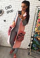 Женский жилет из кашемира с меховыми карманами w-27141