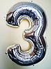 """Фольгированные шары цифры """"3"""" 40"""" (100 см) Серебро Balloons"""