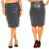 """Женская стильная юбка средней длины в больших размерах 5028 """"Кожа Миди Змейки"""" в расцветках"""