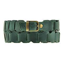 Ремень женский кожаный длина регулируется звеньями. Цвет зеленый
