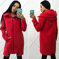 """Стильная женская куртка-пальто демисезон 520 """"Кашемир - Шерсть Капюшон Змейки"""" в расцветках"""