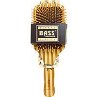 Bass Brushes, Большая прямоугольная щетка для волос с деревянной щетиной и бамбуковой ручкой, 1 щетка для волос