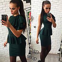 Облегающее платье с баской без рукавов r-2703116