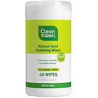 Clean Well, Абсолютно натуральные очищающие салфетки для рук, без спирта, оригинальные, 40 салфеток, 5 x 8 дюймов (12,7 x 20,3 см) каждая