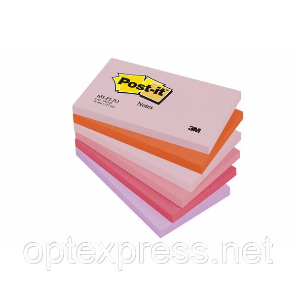 3М 655-FLJO  Post-It  цветные стикеры 76 х127мм  100л х6 шт.