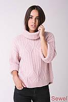 Теплый вязаный свитер женский
