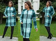 """Элегантное женское пальто в больших размерах 255-1 """"Кашемир Клетка Кармашки Пуговицы"""" в расцветках"""