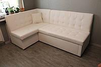 Мягкий кухонный диван белого цвета, фото 1