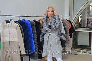 Шикарное пальто с чернобурам шерсть альпаки