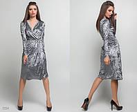 """Элегантное женское платье средней длины 5334 """"Бархат Запах Миди"""" в расцветках"""