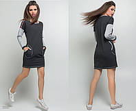 """Женское стильное платье-туника 5323 """"Спорт Кармашки Лампасы"""" в расцветках"""