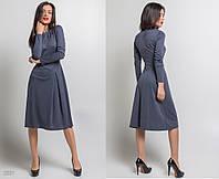 """Элегантное женское платье средней длины 5337 """"Трикотаж Защипы Миди"""" в расцветках"""