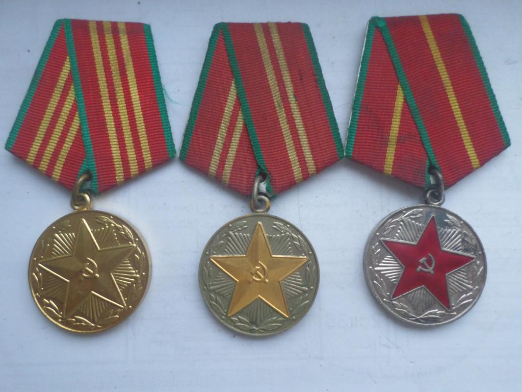 Выслуга, 10,15 и 20 лет безупречной службы в ВС СССР