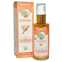 Badger Company, Очищающее облепиховое масло для лица, 2 жидких унции (59.1 мл)