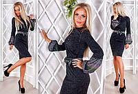 """Элегантное женское платье средней длины 1127 """"Ангора Рукава Пояс Орнамент"""" в расцветках"""