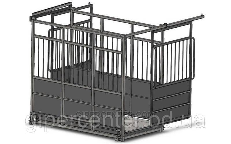 Весы с раздвижными дверьми для коров, свиней и овец 4BDU-3000X-Р, НПВ: 3000кг, 1500х2000х1600мм ПРЕМИУМ