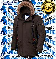 Модная зимняя мужская куртка парка Braggart Arctic - 4933 коричневый