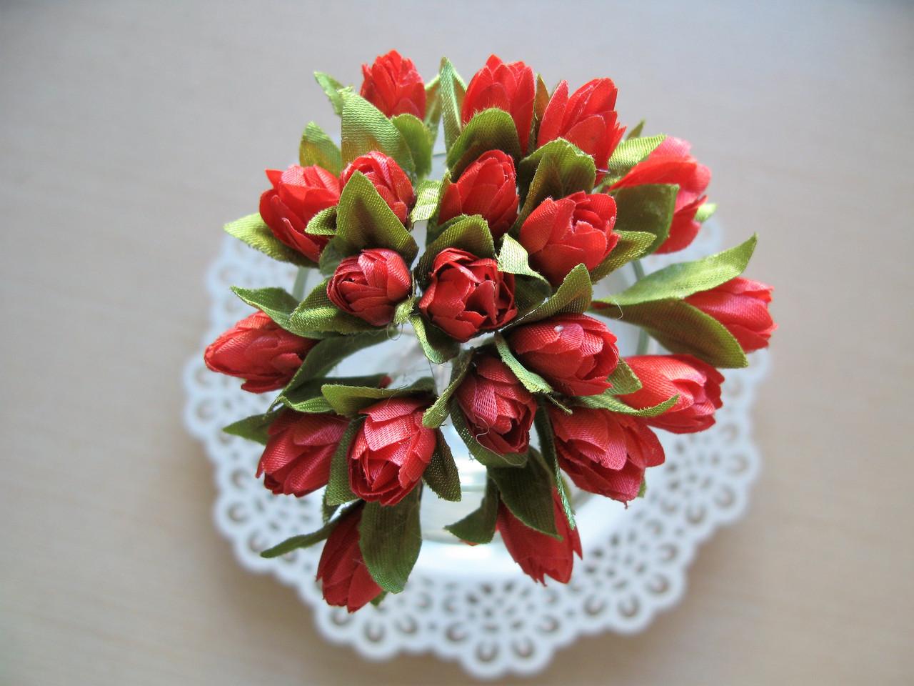 Тюльпаны из ткани коралловые   2 см - 20 шт, 28 грн