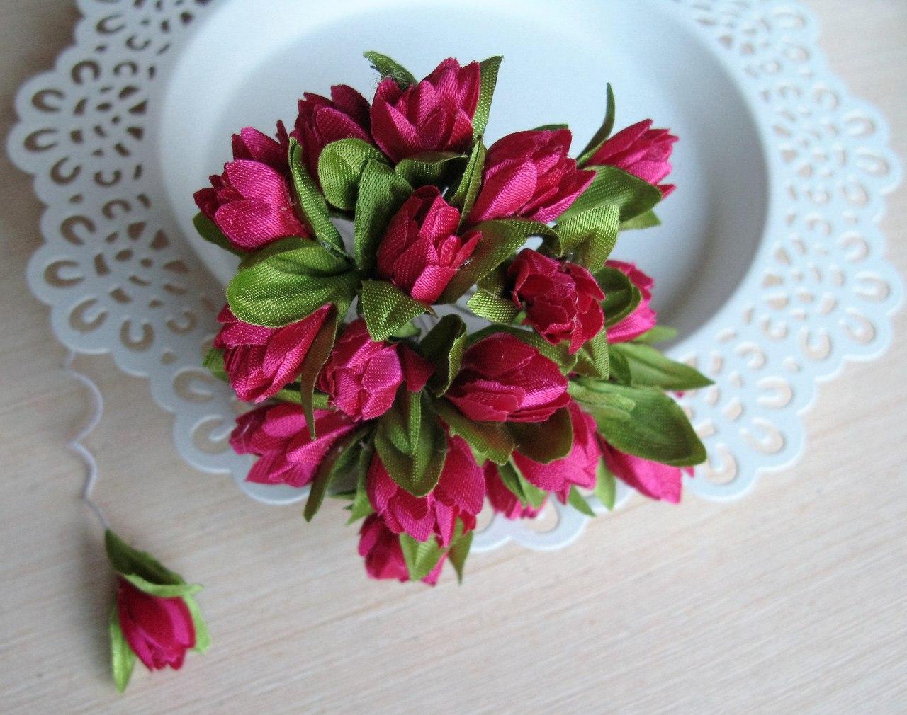 Тюльпаны из ткани малиновые  2 см - 20 шт, 28 грн