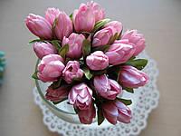 Тюльпаны из ткани розовые  2 см
