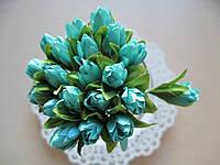 Тюльпаны из ткани цвет - тиффани  2 см