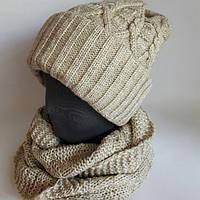 Вязаный комплект 3в1: шапка + шарф-снуд.