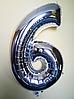 """Фольгированные шары цифры """"6"""" 40"""" (100 см) Серебро Balloons"""