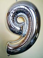 """Фольгированные шары цифры """"9"""" 40"""" (100 см) Серебро Balloons"""