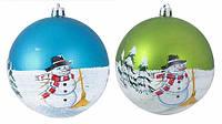 Куля зі Сніговиком,  d=10см, колір: салатовий, синій виріб для новорiчних та рiздвяних свят,