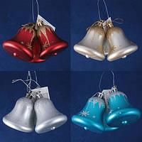"""Набір з 3-х новорічних підвісок - """"дзвіночки"""",  h=6см, 28 наборів в дисплеї, золотий. Ціна за набір"""