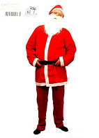 Костюм Санта Клауса, червоний, дорослий: штани,піджак,ковпак,ремінь,борода штучна