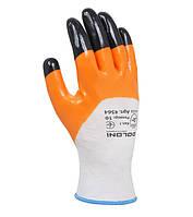 Перчатки с нитриловым покрытием для работ маслами Doloni Пчелка оранжевые 4564, фото 1