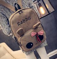 Милый тканевый рюкзак зайчик с глазками и ушками, RABBIT