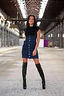 Джинсовая утягивающая юбка корсет