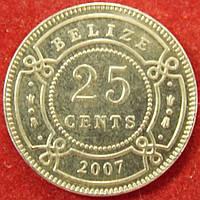 Монета Белиза. 25 центов. 2007 г.