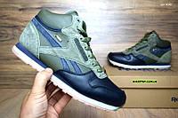 Мужские зимние высокие кроссовки Reebok зеленые с синим