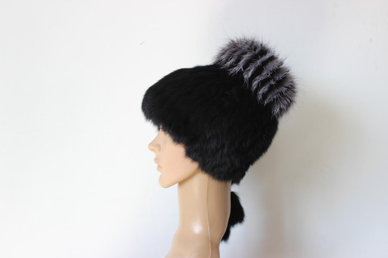 шапка зимняя из меха кролика на вязаной основе продажа цена в