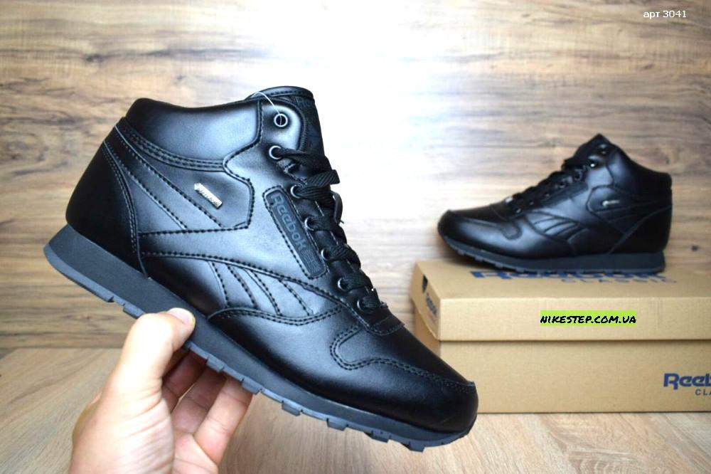 09216065 Мужские зимние высокие кроссовки Reebok кожаные черные реплика (реальные  фото)
