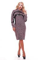 Теплое платье больших размеров Клеопатра бордовое