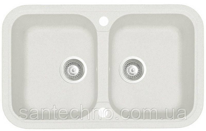 Мийка кухонна гранітна подвійна Argo Gemelli White 770*470*190