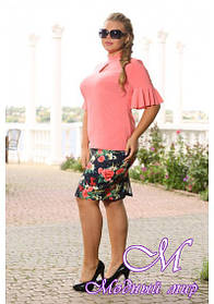 Женская цветочная юбка с разрезом (р. 48-90) арт. Ненси